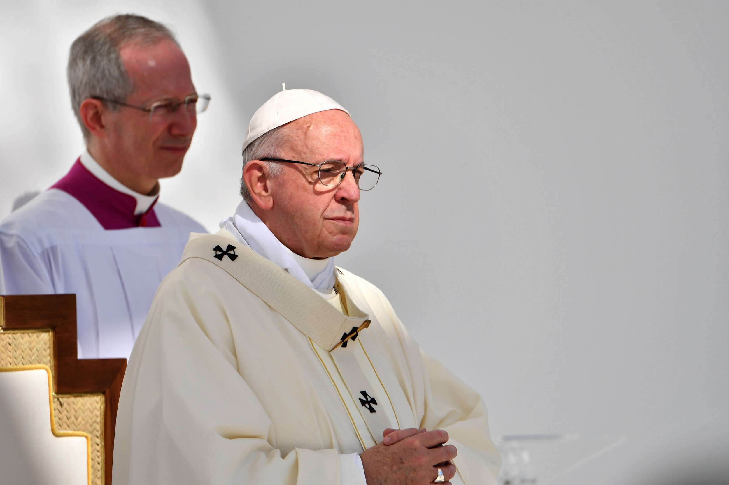Pope Francis leads mass for an estimated 170,000 Catholics at the Zayed Sports City Stadium on February 5, 2019. (Photo by Vincenzo PINTO / AFP)VINCENZO PINTO/AFP/Getty Images