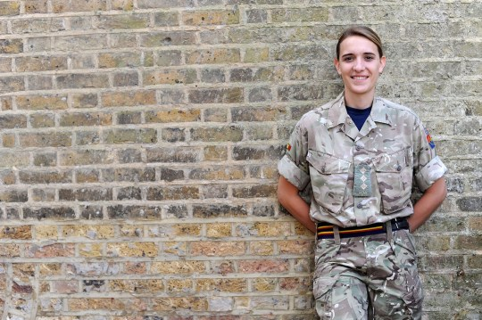 Hannah Winterbourne at the Royal Military Academy Sandhurst (RMAS) Surrey. Hannah is the army's highest ranking transgender officer. Hannah married transgender husband Jake in March 2018. photographer byline Darren Pepe.