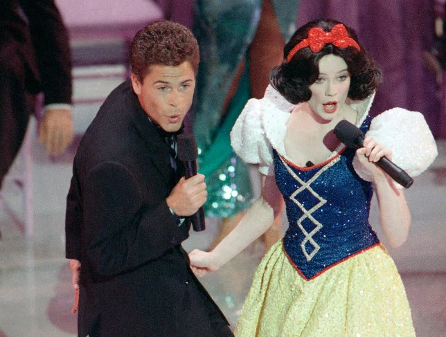 Rob Lowe and actress Eileen Bowman as Snow White at the 1989 Oscars