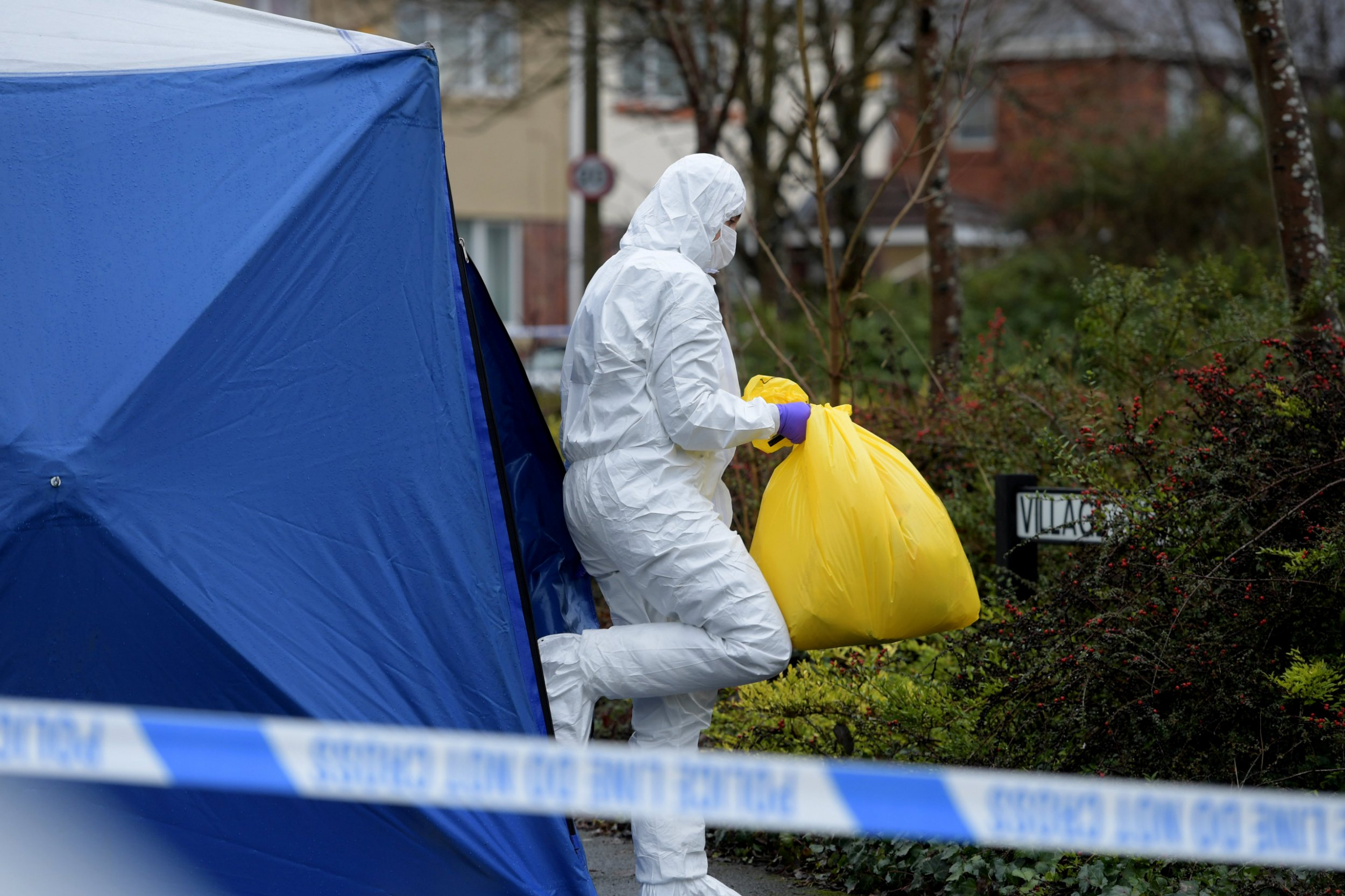 """The murder scene at the junction of Village Drive and Pope Lane in Ribbleton, Preston where a woman was brutally murdered, February 7 2019. The body was apparently so badly beaten that investigating officers originally, wrongly identified the body as a man. See SWNS story SWLEwoman; A murder investigation has been launched following the death of a woman in Preston. Police were called at 2am today (7 February) to reports of an altercation on Pope Lane, Ribbleton. Detectives have described the alleged murder of a woman in Ribbleton as """"brutal"""". Police have not confirmed how the woman died but her injuries are understood to be so extensive that officers were unable to identify her as a woman."""