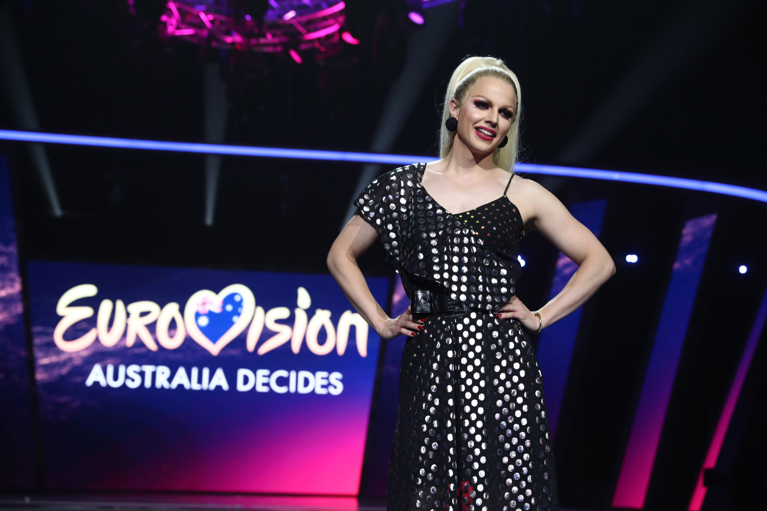 GOLD COAST, AUSTRALIA - FEBRUARY 08: Courtney Act poses during a media call for Eurovision - Australia Decides at Gold Coast Convention and Exhibition Centre on February 08, 2019 in Gold Coast, Australia. (Photo by Chris Hyde/Getty Images)
