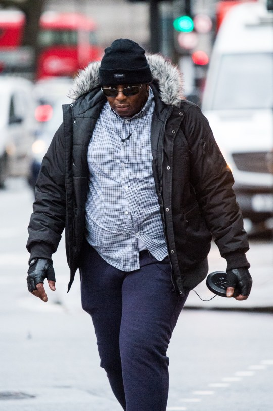 08/02/2019 Westminster Magistrates Court (London). Pic shows Paul Chigbu arriving at court. A sexual predator with a foot fetish grabbed an off duty police officer's boot on a train, a court heard. Paul Chigbu, 51, has spent years playing out his weird fantasies by fondling women's footwear. He was under an order banning him from touching any part of a woman or their clothing in public following a series of sex offences when he attacked the cop on November 4 last year. SEE STORY CENTRAL NEWS. 020 72360116. Picture: Brais G. Rouco/ Central News