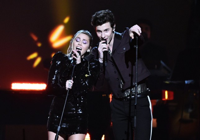 Mandatory Credit: Photo by Michael Buckner/Variety/REX (10096817af) Miley Cyrus and Shawn Mendes MusiCares Person of the Year Gala, Show, Convention Center, Los Angeles, USA - 08 Feb 2019