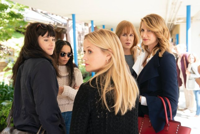 The cast of Big Little Lies, including Shailene Woodley, Zoë Kravitz, Reese Witherspoon, Nicole Kidman and Laura Dern