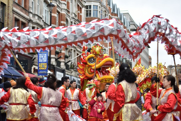LONDON, ENGLAND - FEBRUARY 10: A Dragon dance is performed during the Chinese new year parade on February 10, 2019 in London, England. Thousands of people are expected to celebrate the Chinese New Year at a parade through the streets of the West End. The new year is a two-week festival which began officially on 5th February and this year celebrates the of the Pig. (Photo by John Keeble/Getty Images)