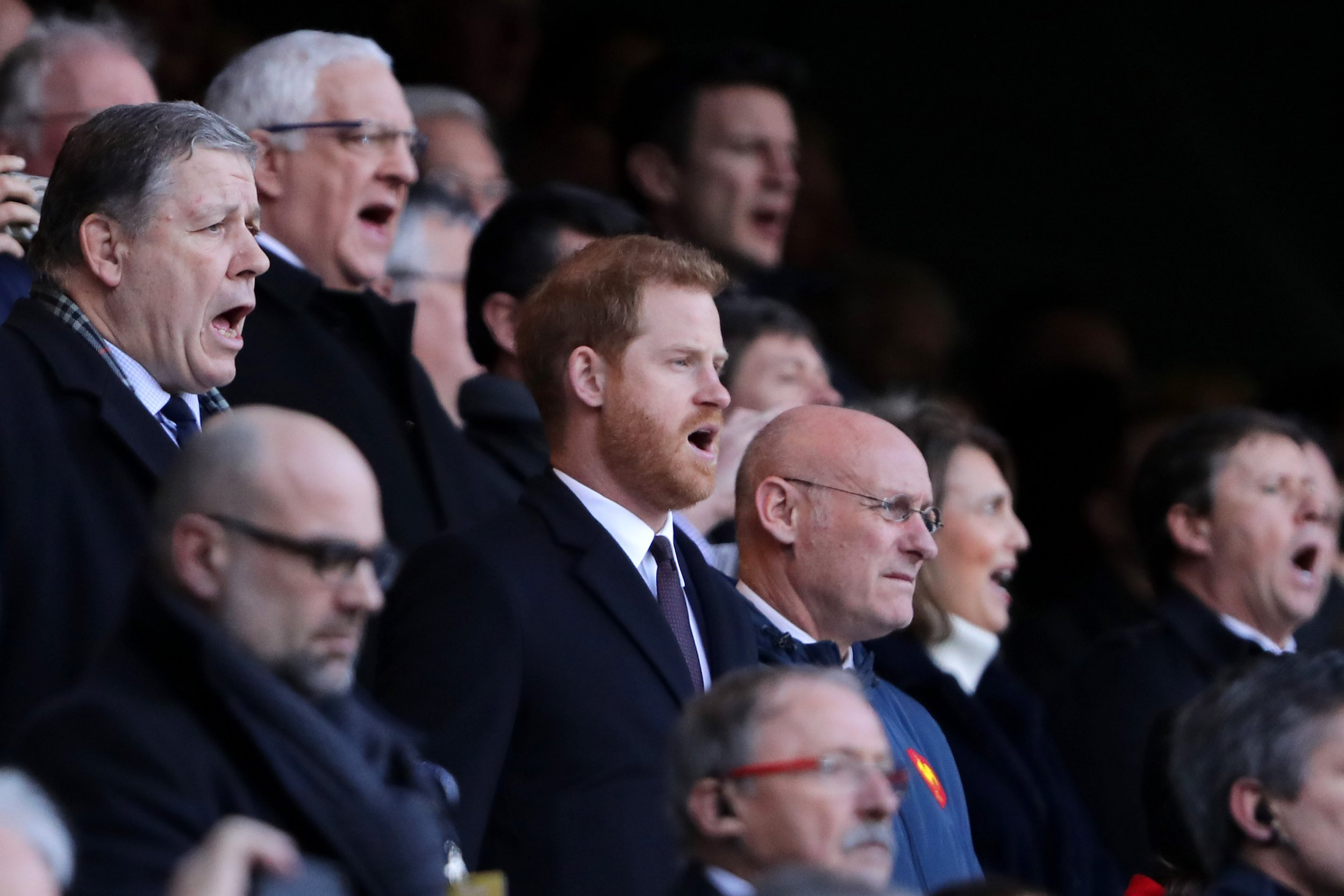 LONDON, ENGLAND - FEBRUARY 10: Prince Harry looks on prior to the Guinness Six Nations match between England and France at Twickenham Stadium on February 10, 2019 in London, England. (Photo by Richard Heathcote/Getty Images)