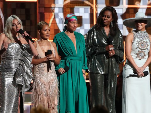 Michelle Obama, Jennifer Lopez, Jada Pinkett-Smith and Lady Gaga are ultimate squad goals with Alicia Keys at Grammys
