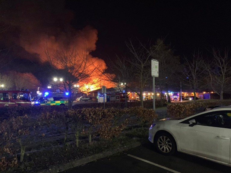 Best quality available. Photo taken from Twitter with permission from @BradleyStokes_ of a fire at the George Bryan Centre in Staffordshire. PRESS ASSOCIATION Photo. Issue date: Tuesday February 12, 2019. A 43-year-old man has been detained on suspicion of arson following the fire on Monday night. See PA story FIRE Tamworth. Photo credit should read Bradley Stokes /PA Wire NOTE TO EDITORS: This handout photo may only be used in for editorial reporting purposes for the contemporaneous illustration of events, things or the people in the image or facts mentioned in the caption. Reuse of the picture may require further permission from the copyright holder.