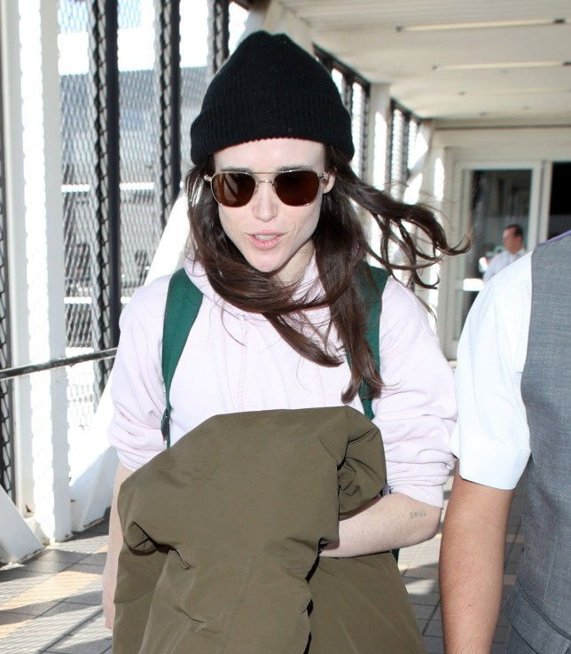 PREMIUM EXCLUSIVE Please contact X17 before any use of these exclusive photos - x17@x17agency.com Monday, February 11, 2019 - Ellen Page is in a cheerful mood, chatting it up with her airport handler as she arrives in Los Angeles after recently tweeting that Hillsong Church, which is attended by Chris Pratt, Kourtney Kardashian and other celebrities, is 'notoriously anti-LGBTQ.' Pratt has responded to the 'Juno' star's claims, saying that 'nothing could be further from the truth.' NICEPAPGIO/X17online.com