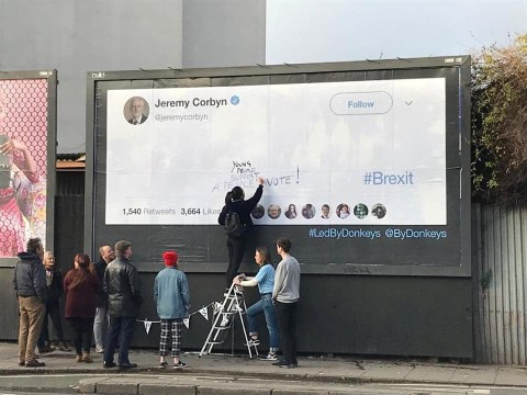 Corbyn's Brexit position made clear with blank giant billboard