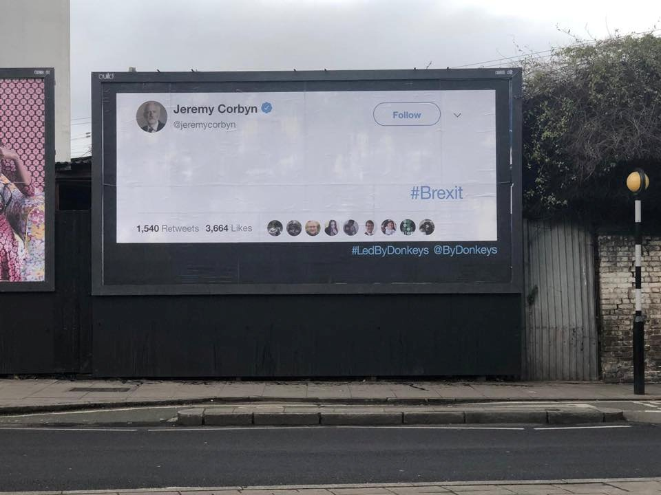 An empty Jeremy Corbyn's board is seen in London, Britain, February 12, 2019 in this picture obtained from social media. Amanda Chetwynd-Cowieson/FOR OUR FUTURE'S SAKE/via REUTERS THIS IMAGE HAS BEEN SUPPLIED BY A THIRD PARTY. MANDATORY CREDIT. NO RESALES. NO ARCHIVES.