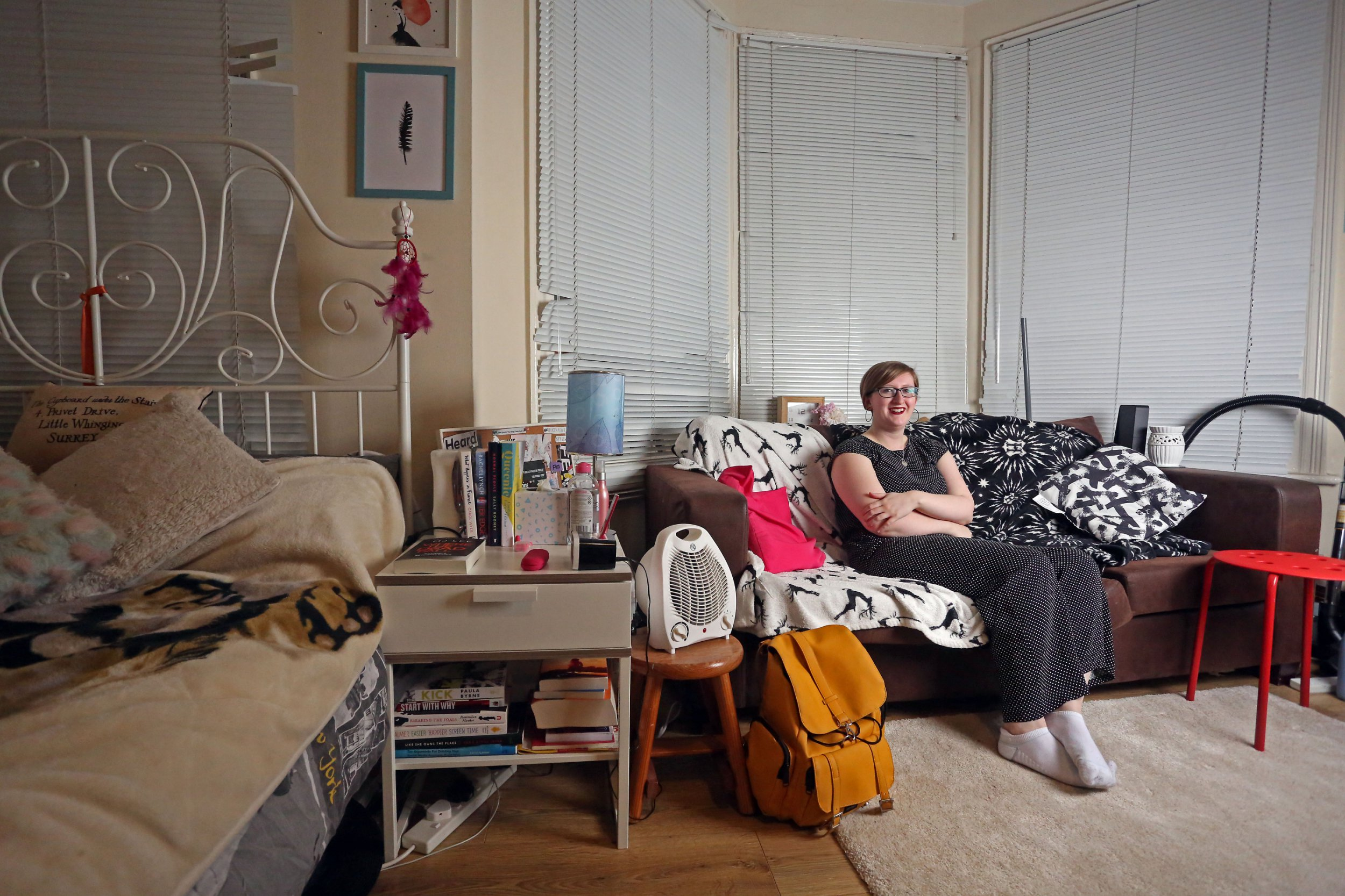 LONDON, UNITED KINGDOM, FEBRUARY 12TH 2019. WHAT I RENT: WEST GREEN Tenant Ellie Pilcher is pictured in her combined living room, bedroom and kitchen in her bedsit flat in West Green in Haringey, London, 12th February 2019. Ellie pays ?800 a month, which also includes water, gas and council tax. Photo credit: Susannah Ireland