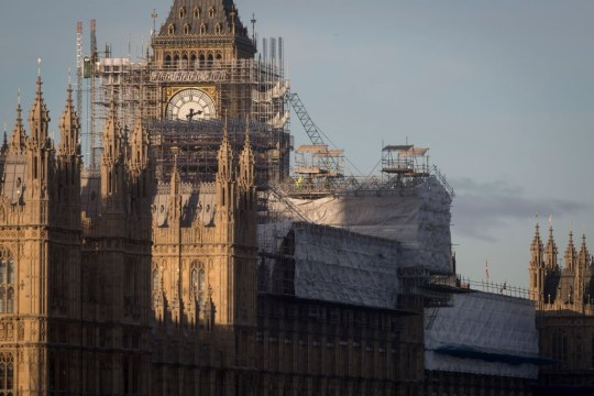 The Elizabeth Tower that holds the now silent Big Ben bell, along with the the Houses of Parliament, are covered in scaffolding, on 1st December 2017, in Westminster, London, England. The bell will remain silent during this renovation by contractor Sir Robert McAlpine until 2021 and the estimated cost of repairing the tower and other parts of the 19th century Gothic building, has doubled to ??61m, authorities have said. (Photo by Richard Baker / In Pictures via Getty Images)