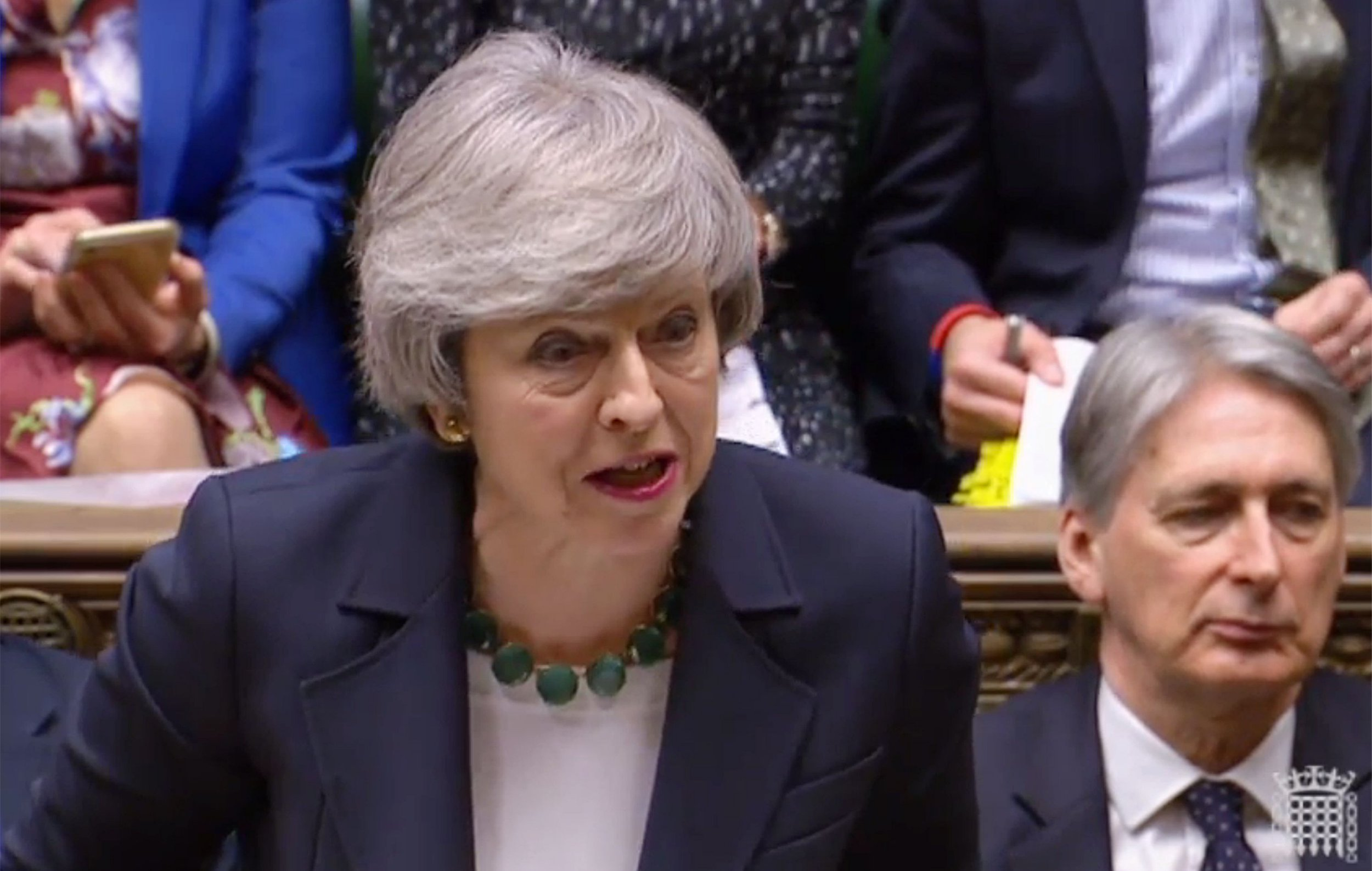 "A video grab from footage broadcast by the UK Parliament's Parliamentary Recording Unit (PRU) shows Britain's Prime Minister Theresa May as she speaks during the weekly Prime Minister's Questions (PMQs) in the House of Commons in London on February 13, 2019. - The British government denied Wednesday it was secretly plotting to bounce MPs into a last-minute choice just days before Brexit between a rejigged deal or a lengthy delay. ITV television reported that it had overheard Prime Minister Theresa May's chief Brexit negotiator Olly Robbins in a Brussels bar saying the European Union would probably let Britain extend its March 29 departure date. (Photo by - / AFP) / RESTRICTED TO EDITORIAL USE - MANDATORY CREDIT "" AFP PHOTO / PRU "" - NO USE FOR ENTERTAINMENT, SATIRICAL, MARKETING OR ADVERTISING CAMPAIGNS-/AFP/Getty Images"