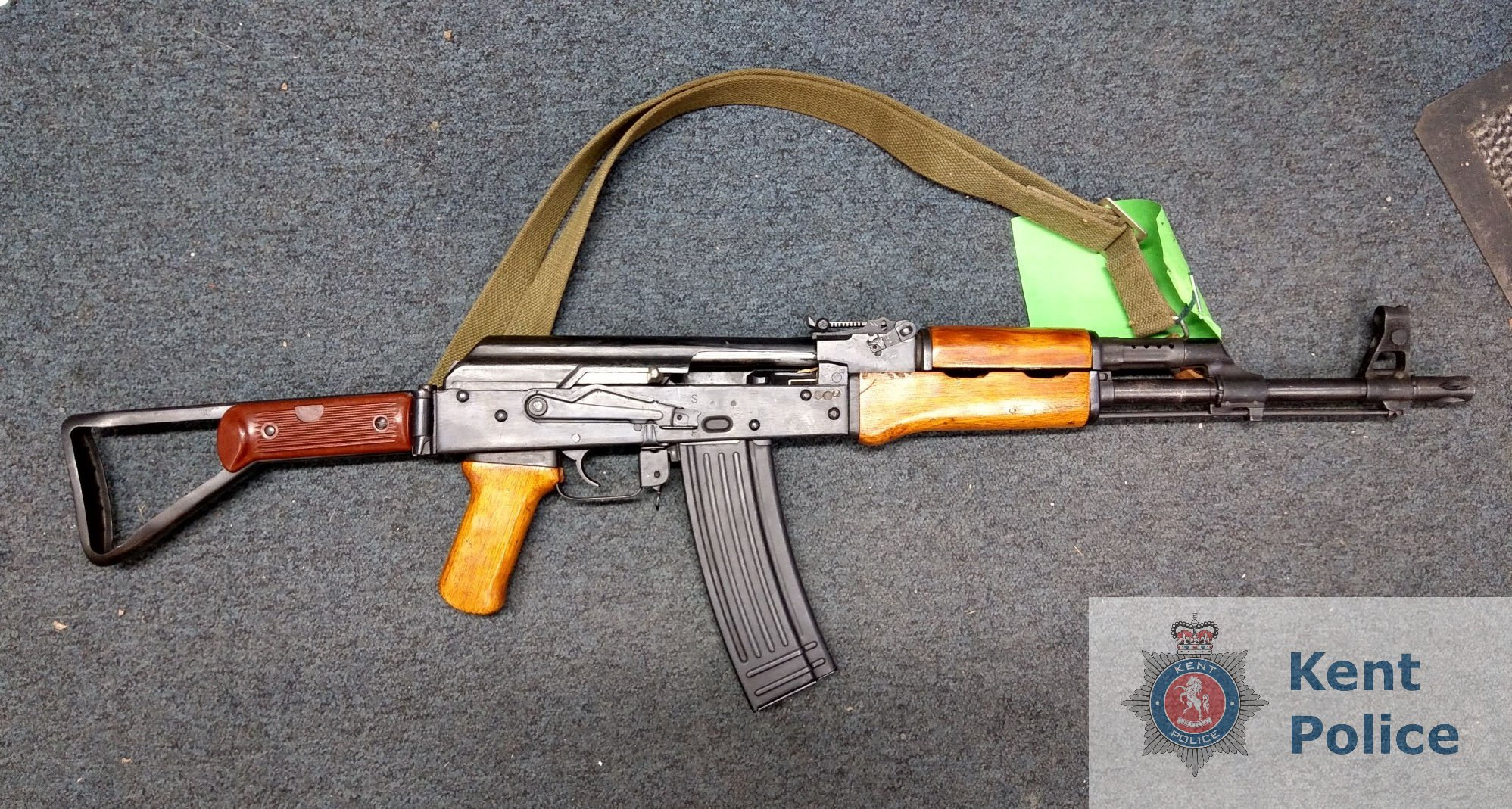 Undated handout photo issued by Kent Police of a deactivated Kalashnikov AK-47 assault rifle which was handed in to officers on 24 January along with magazine and dummy rounds as part of a firearms surrender initiative by Kent Police. PRESS ASSOCIATION Photo. Issue date: Thursday February 14, 2019. The initiative, which ran between Monday 21 January and Wednesday 6 February, saw a total of 172 firearms and 3,857 rounds of ammunition being handed over to officers. See PA story POLICE Kent. Photo credit should read: Kent Police/PA Wire NOTE TO EDITORS: This handout photo may only be used in for editorial reporting purposes for the contemporaneous illustration of events, things or the people in the image or facts mentioned in the caption. Reuse of the picture may require further permission from the copyright holder.