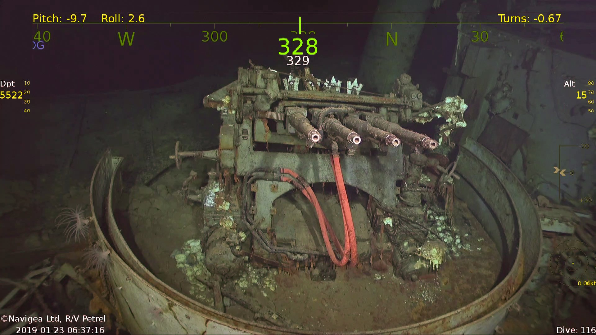 Remains of WW2 aircraft carrier found at the bottom of the south pacific https://paulallen.com/Indepth/Petrel/discoveries/uss-hornet-cv-8.php Credit: Navigea Ltd, R/V Petrel, Paul G. Allen's Vulcan Inc