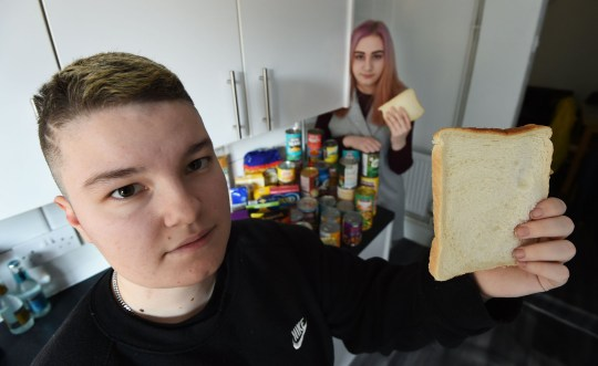 Jaedyn Overbury and his pregnant girlfriend Lizzie Mason who were living in Stockland Green on toast due to Jaedyn having to give up his job due to anxiety. They asked on Facebook for food donations and have been overwhelmed by the response