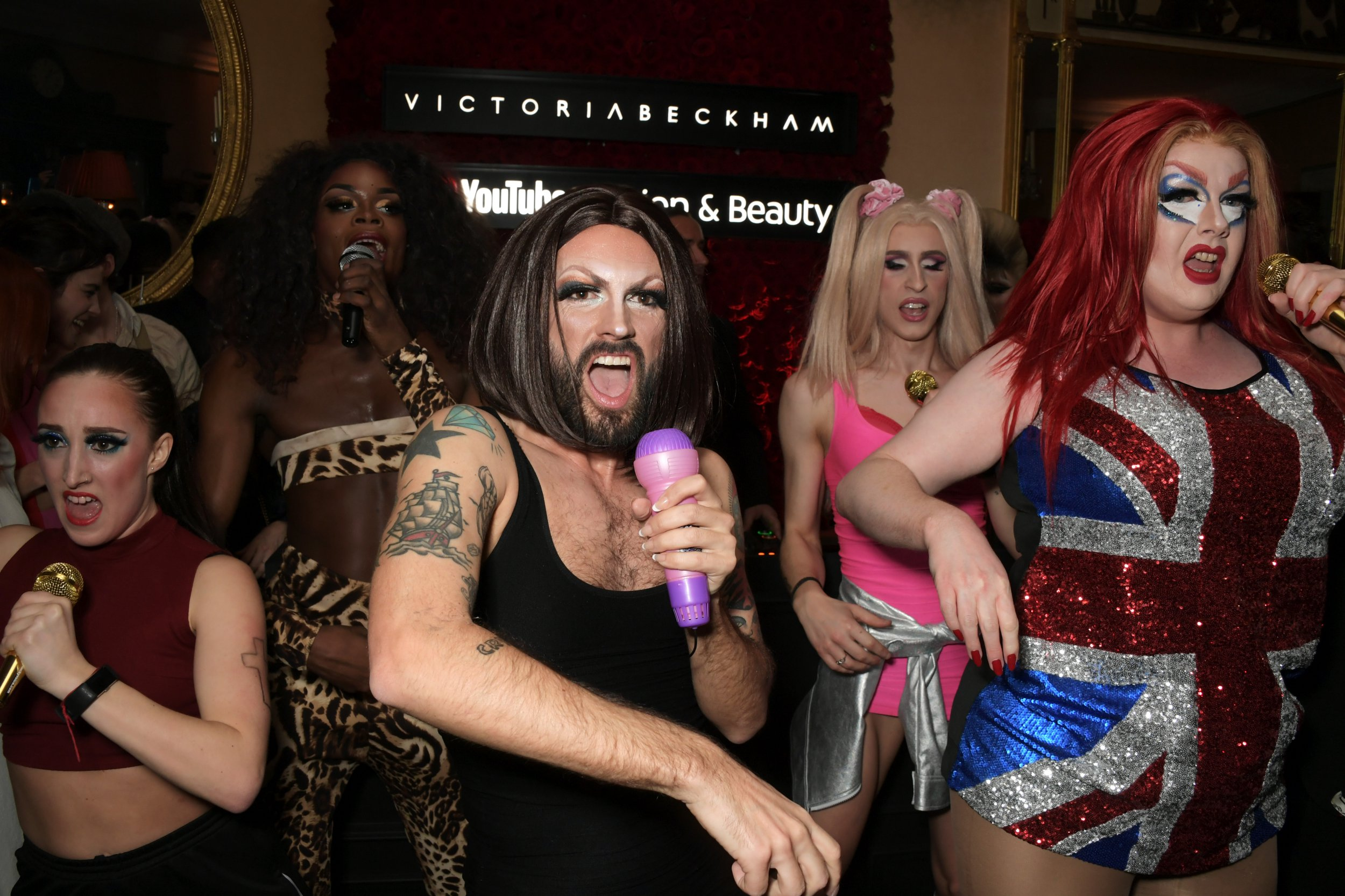LONDON, ENGLAND - FEBRUARY 17: The Spice Gurrls perform at the Victoria Beckham x YouTube Fashion & Beauty after party at London Fashion Week hosted by Derek Blasberg & David Beckham at Mark's Club on February 17, 2019 in London, England. (Photo by David M. Benett/Dave Benett/Getty Images for YouTube)