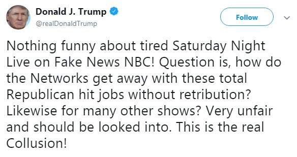 President Trump responds to Saturday Night Live sketch (Picture: Twitter)