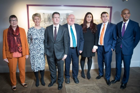 Labour MPs (left to right) Ann Coffey, Angela Smith, Chris Leslie, Mike Gapes, Luciana Berger, Gavin Shuker and Chuka Umunna after they announced their resignations during a press conference at County Hall in Westminster, to create a new Independent Group in the House of Commons. PRESS ASSOCIATION Photo. Picture date: Monday February 18, 2019. See PA story POLITICS Labour. Photo credit should read: Stefan Rousseau/PA Wire
