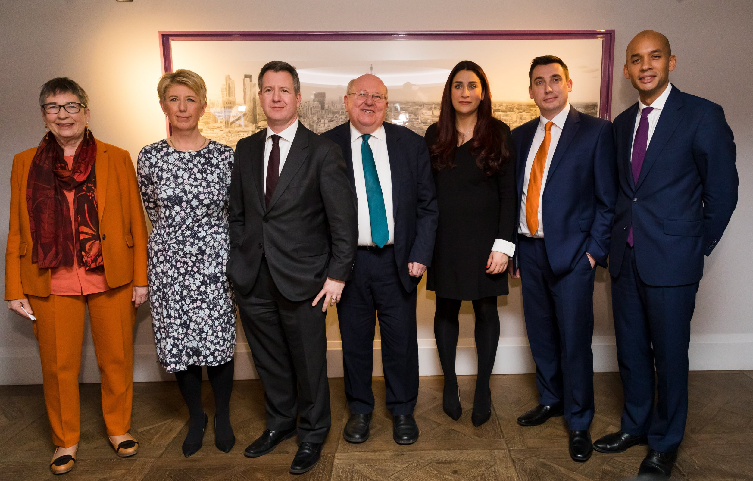 epa07378534 Former British Labour party MPs (L-R) Ann Coffey, Angela Smith, Chris Leslie, Mike Gapes, Luciana Berger, Gavin Shuker and Chuka Umunna pose for a photograph following a press conference in London, Britain, 18 February 2019, during which they announced their resignation from the Labour Party, and the formation of a new independent group of MPs. Speaking at a press conference in London, the seven MP's attacked party chief Jeremy Corbyn for leading the party to the far left and said they would sit as an independent group in parliament. EPA/VICKIE FLORES