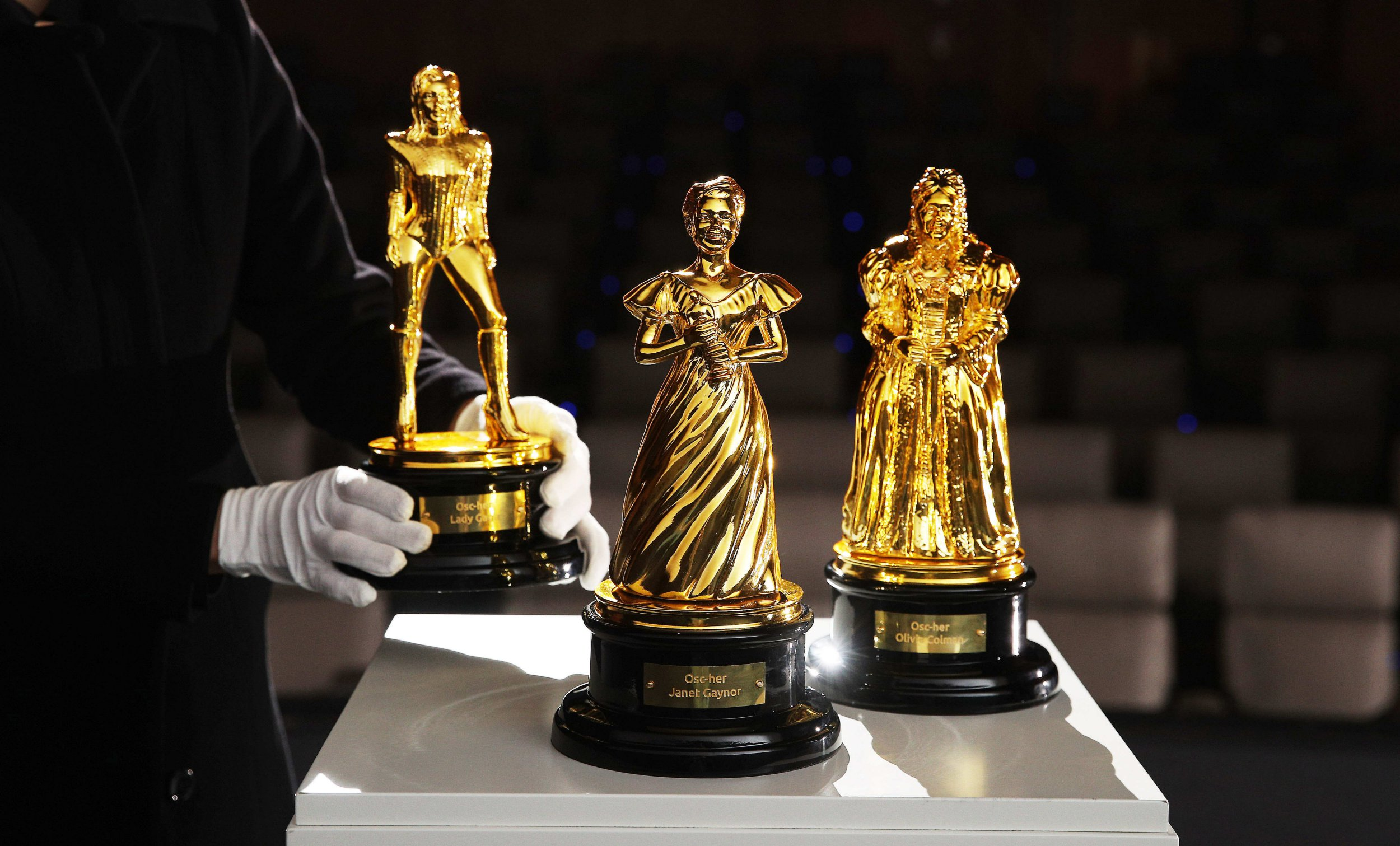 Oscars statuette gets modern reboot as Lady Gaga and Olivia Colman turn into legendary gold awards