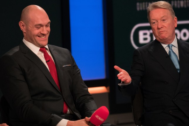 Frank Warren of Tyson Fury (left) and Frank Warren during the press conference at BT Sport Studio