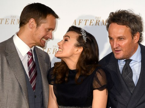 Keira Knightley and Alexander Skarsgard joke around at The Aftermath world premiere and the pictures are meme-worthy