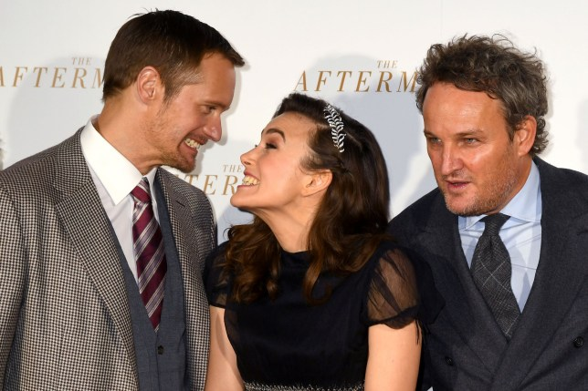 Keira Knightley and Alexander Skarsgard joke around at The Aftermath
