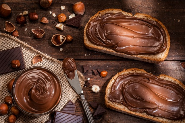 Top view of two toasts with chocolate and hazelnut spread shot on rustic wooden table. A glass bowl filled with chocolate spread and a knife are beside the toasts. Some shelled and peeled hazelnuts and chocolate pieces complete the composition. Predominant color is brown. Low key DSRL studio photo taken with Canon EOS 5D Mk II and Canon EF 100mm f/2.8L Macro IS USM
