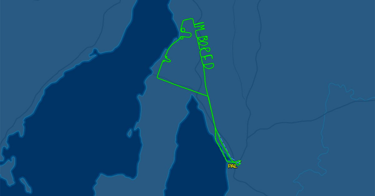 A bored pilot wrtoe 'Im Bored' on the flight tracker