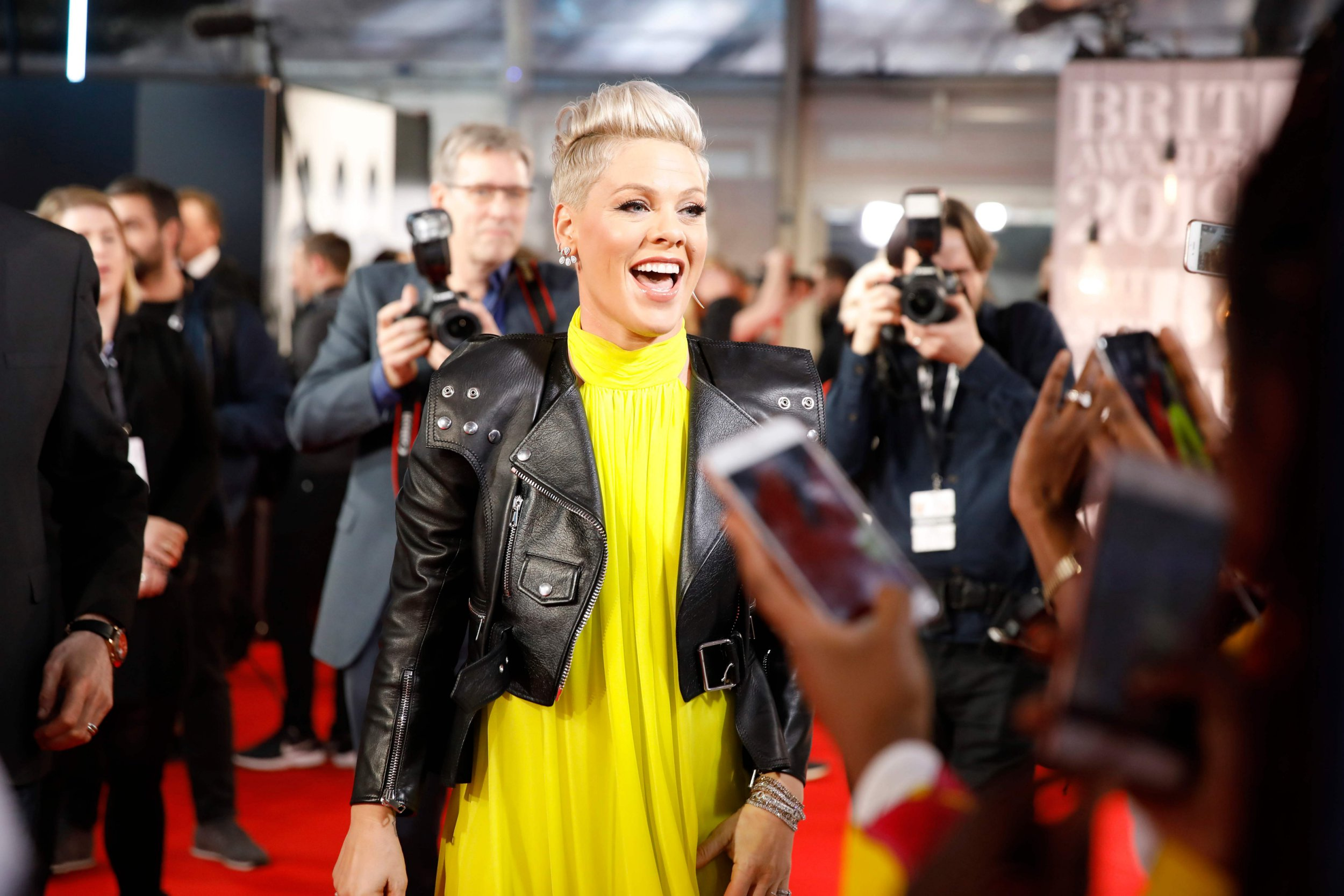 US singer-songwriter Pink reacts on the red carpet on arrival for the BRIT Awards 2019 in London on February 20, 2019. (Photo by Tolga AKMEN / AFP) / RESTRICTED TO EDITORIAL USE NO POSTERS NO MERCHANDISE NO USE IN PUBLICATIONS DEVOTED TO ARTISTSTOLGA AKMEN/AFP/Getty Images