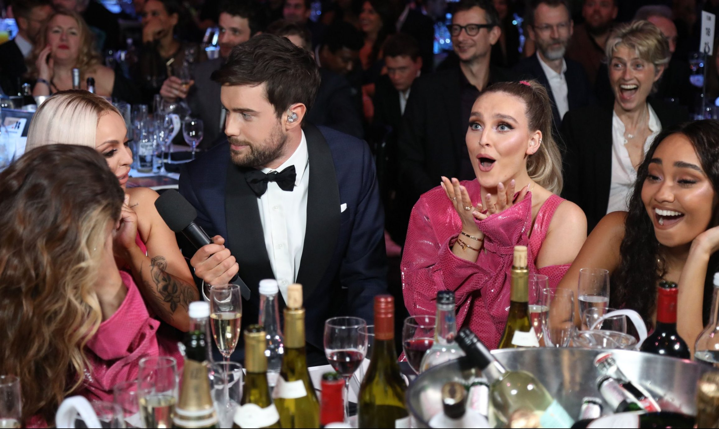 Mandatory Credit: Photo by JM Enternational/REX (10110853jq) Jack Whitehall and Little Mix - Jade Thirlwall, Jesy Nelson, Perrie Edwards and Leigh-Anne Pinnock 39th Brit Awards, Show, The O2 Arena, London, UK - 20 Feb 2019