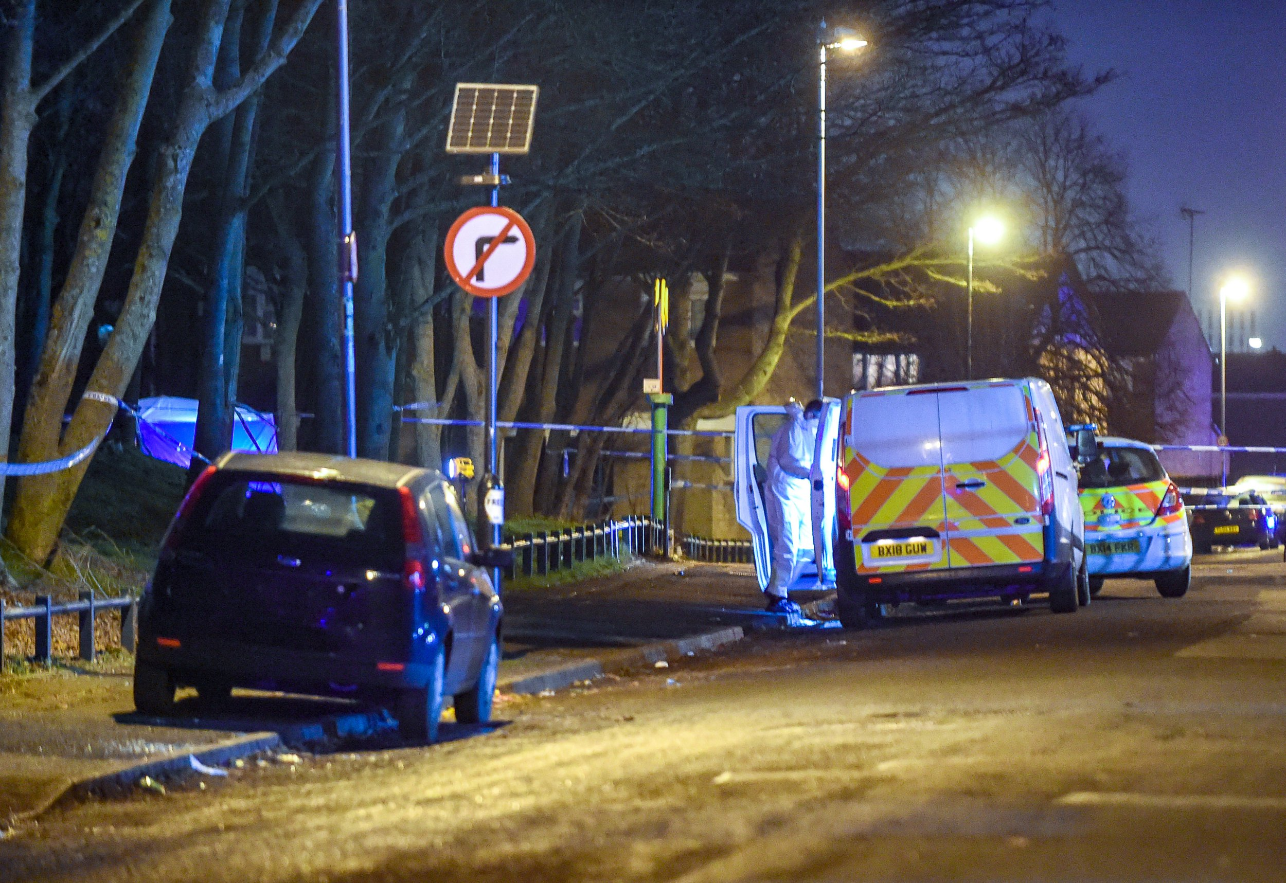 Pictured, 20/2/19 , 8pm West Midlands police launch a Murder investigation after a 17 year old male is stabbed in chest in local park. He died at the scene , Sara Park , Herbert Road , Small Heath , Birmingham , West Midlands.
