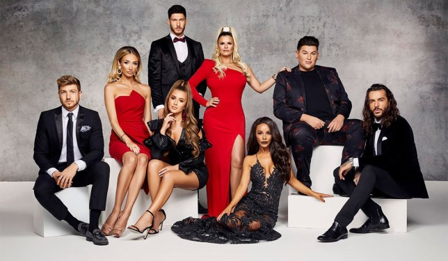 the cast of celebs go dating, including chelsee healey, megan mckenna, pete wicks, kerry katona and georgia steel