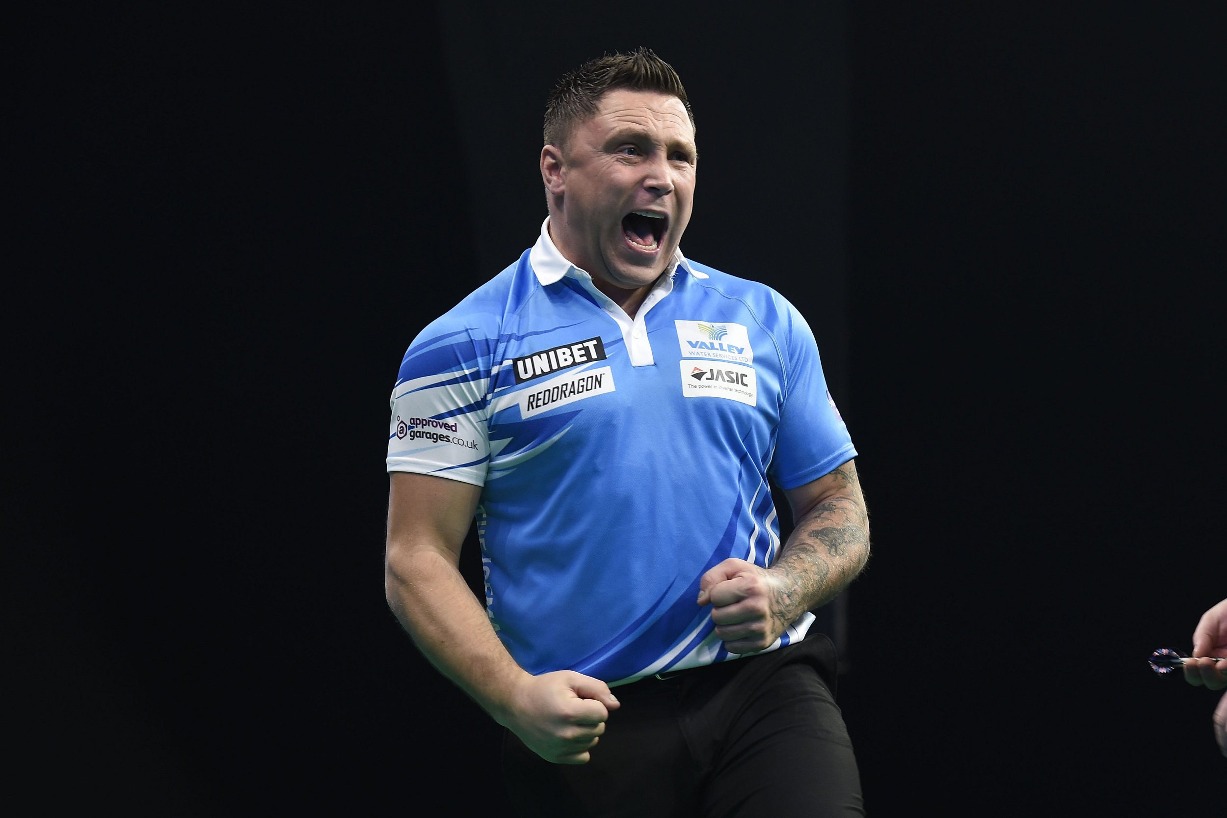 21/2/19: Gerwyn Price in action against James Wade during the Unibet Premier League Darts match at the 3Arena, Dublin. Picture: Michael Cooper