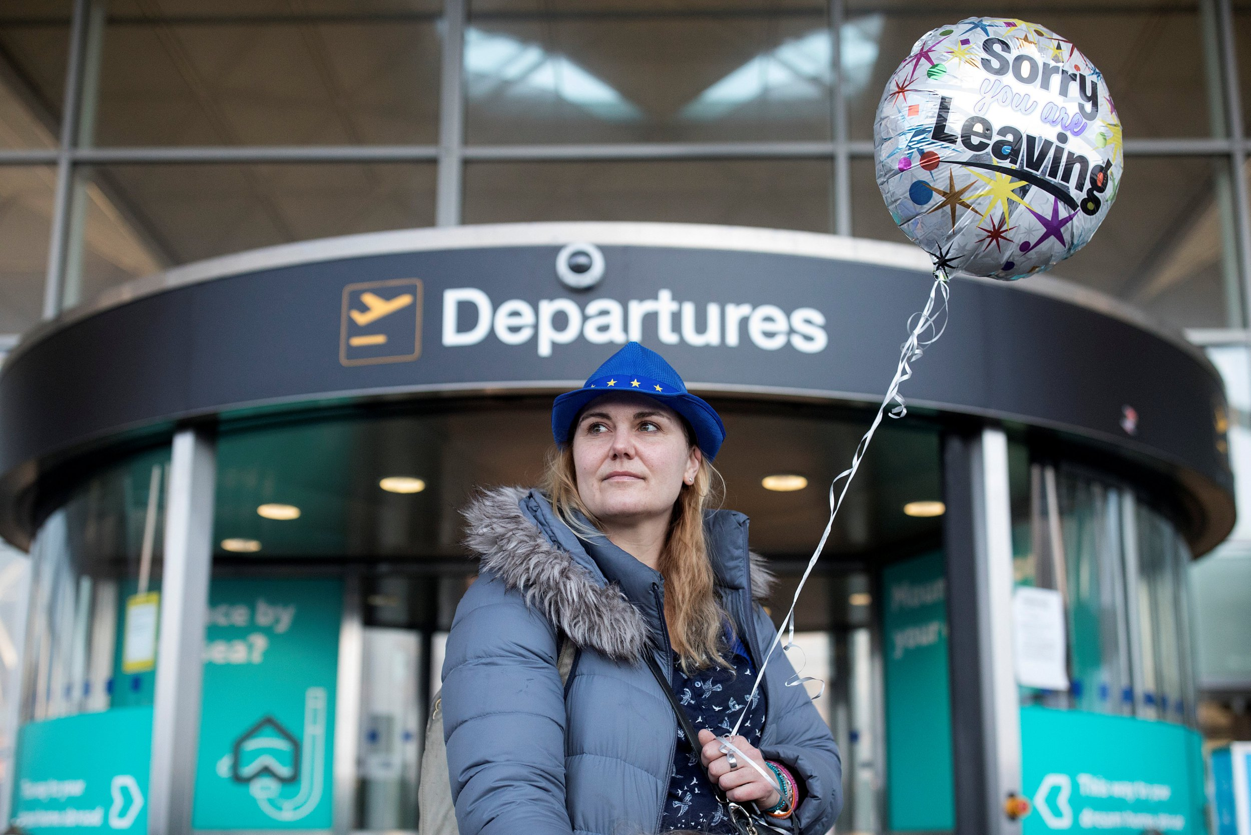 Sonja Morgenstern poses for a photograph outside the departure entrance at Stansted Airport, London, Britain February 21, 2019. REUTERS/Simon Dawson