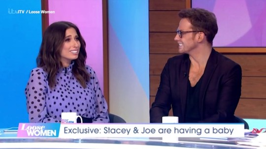 Stacey Solomon tears up as she's surprised by Joe Swash to celebrate baby news Credit: ITV