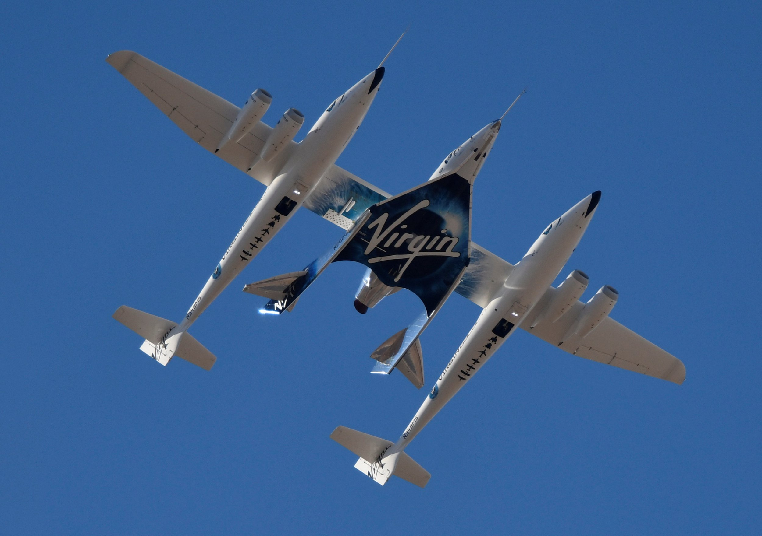 Virgin Galactic rocket plane, the WhiteKnightTwo carrier airplane, with SpaceShipTwo passenger craft takes off from Mojave Air and Space Port in Mojave, California, U.S., February 22, 2019. REUTERS/Gene Blevins
