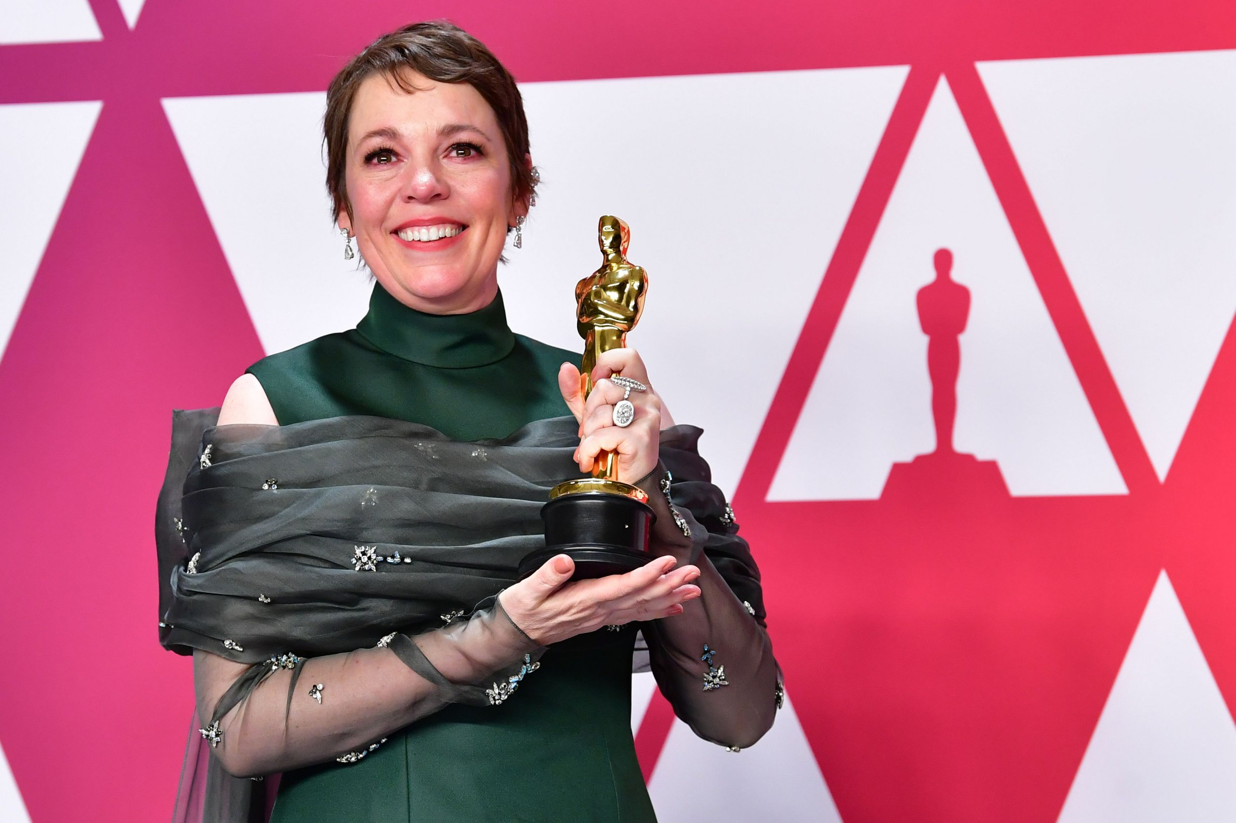 """TOPSHOT - Best Actress winner for """"The Favourite"""" Olivia Colman poses in the press room with her Oscar during the 91st Annual Academy Awards at the Dolby Theater in Hollywood, California on February 24, 2019. (Photo by FREDERIC J. BROWN / AFP)FREDERIC J. BROWN/AFP/Getty Images"""