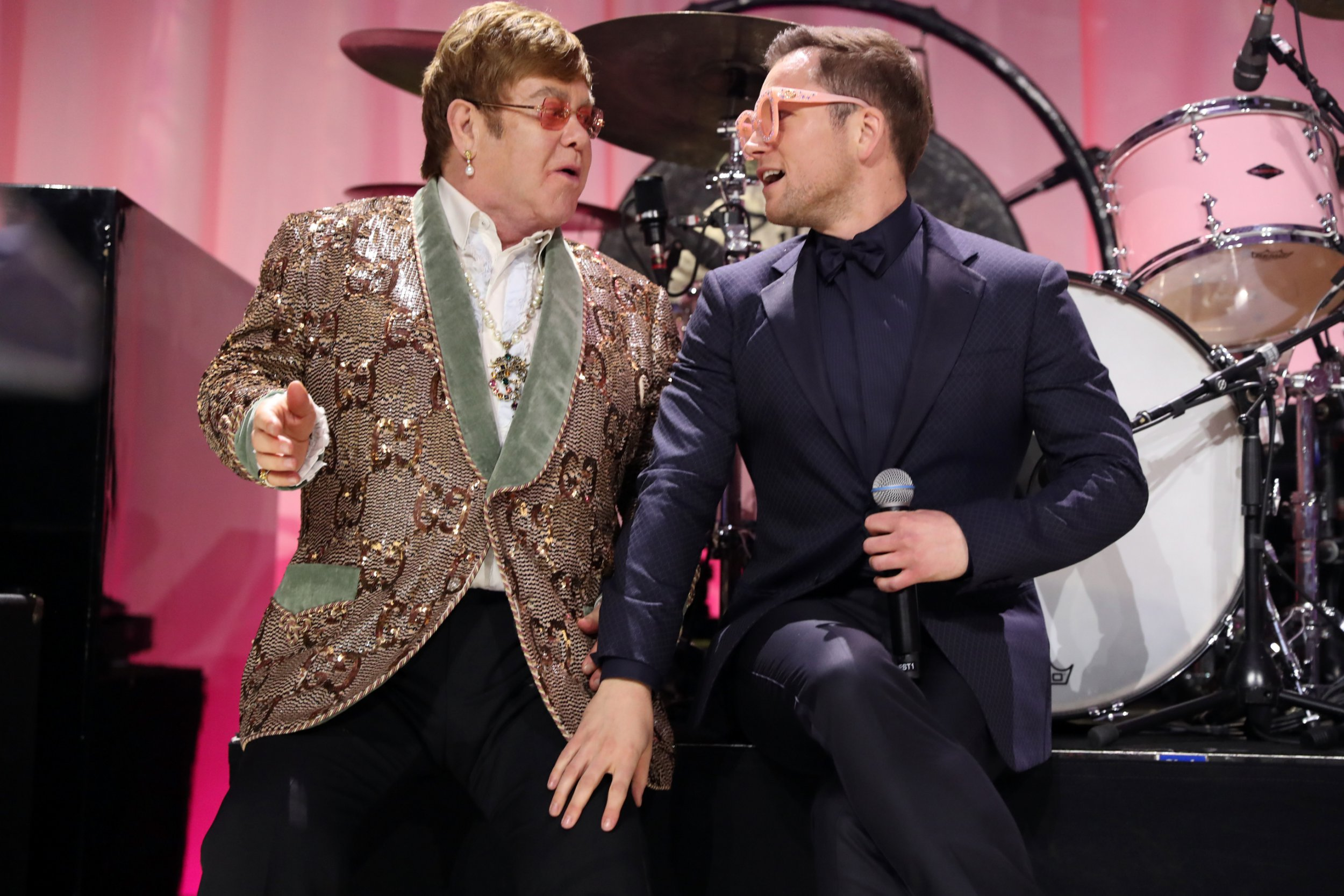 WEST HOLLYWOOD, CA - FEBRUARY 24: Sir Elton John and Taron Egerton perform onstage during the 27th annual Elton John AIDS Foundation Academy Awards Viewing Party sponsored by IMDb and Neuro Drinks celebrating EJAF and the 91st Academy Awards on February 24, 2019 in West Hollywood, California. (Photo by Rich Fury/Getty Images for EJAF)