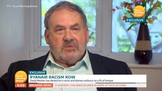 Video grab taken from ITV's Good Morning Britain of David Mesher, the Ryanair passenger who launched a tirade at an elderly woman, who has apologised and denied he is a racist. PRESS ASSOCIATION Photo. Issue date: Friday October 26, 2018. See PA story AIR Racist. Photo credit should read: ITV/PA Wire TV OUT. ALL BROADCAST WEBSITES OUT. No cropping permitted. Picture must be credited to ITV. We are advised that videograbs should not be used more than 48 hours after the time of original transmission, without the consent of the copyright holder. NOTE TO EDITORS: This handout photo may only be used in for editorial reporting purposes for the contemporaneous illustration of events, things or the people in the image or facts mentioned in the caption. Reuse of the picture may require further permission from the copyright holder.