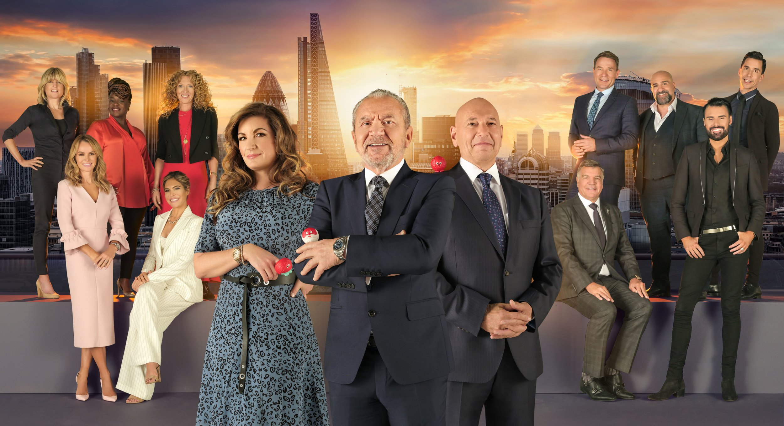 EMBARGOED TO 0001 TUESDAY FEBRUARY 26 For use in UK, Ireland or Benelux countries only Undated BBC handout photo of (left to right) Baroness Brady, Lord Sugar and Claude Littner in front of the candidates (back row left to right) Rachel Johnson, Tamkeka Empson, Kelly Hoppen, Richard Arnold, Omid Djalili, Russell Kane, (front row left to right) Amanda Holden, Ayda Williams, Sam Allardyce and Rylan Clark-Neal , from Celebrity Apprentice for Comic Relief. PRESS ASSOCIATION Photo. Issue date: Tuesday February 26, 2019. See PA story SHOWBIZ Allardyce. Photo credit should read: BBC/Comic Relief/PA Wire NOTE TO EDITORS: Not for use more than 21 days after issue. You may use this picture without charge only for the purpose of publicising or reporting on current BBC programming, personnel or other BBC output or activity within 21 days of issue. Any use after that time MUST be cleared through BBC Picture Publicity. Please credit the image to the BBC and any named photographer or independent programme maker, as described in the caption.