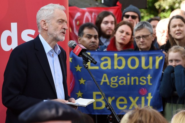 (FILES) In this file photo taken on February 23, 2019 Opposition Labour party leader Jeremy Corbyn addresses at a rally, in Broxtowe, central England. - Britain's main opposition Labour Party said on February 25 it was committed to eventually supporting a second referendum on leaving the European Union if its own plan for Brexit is not approved. (Photo by Oli SCARFF / AFP)OLI SCARFF/AFP/Getty Images