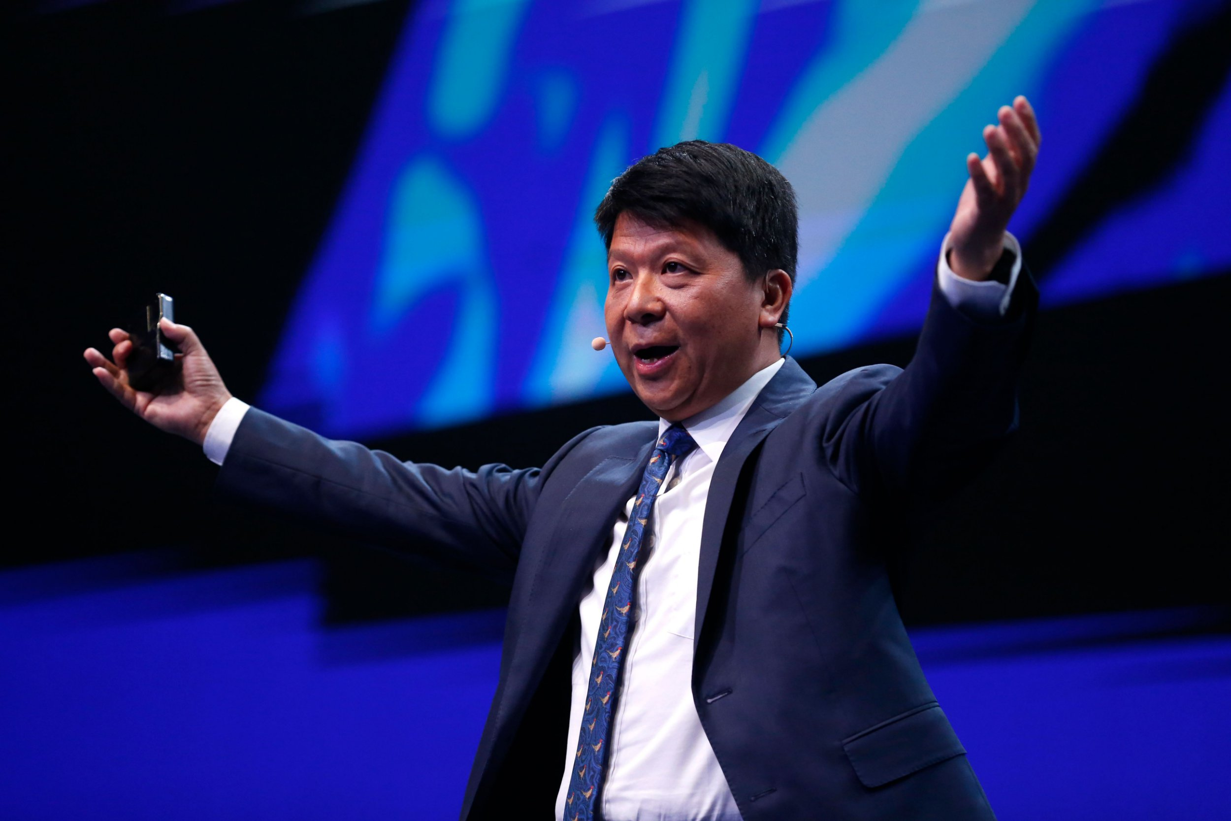 Huawei chairperson Guo Ping delivers a keynote speech at the Mobile World Congress (MWC) in Barcelona on February 26, 2019. - Phone makers will focus on foldable screens and the introduction of blazing fast 5G wireless networks at the world's biggest mobile fair as they try to reverse a decline in sales of smartphones. (Photo by Pau Barrena / AFP)PAU BARRENA/AFP/Getty Images