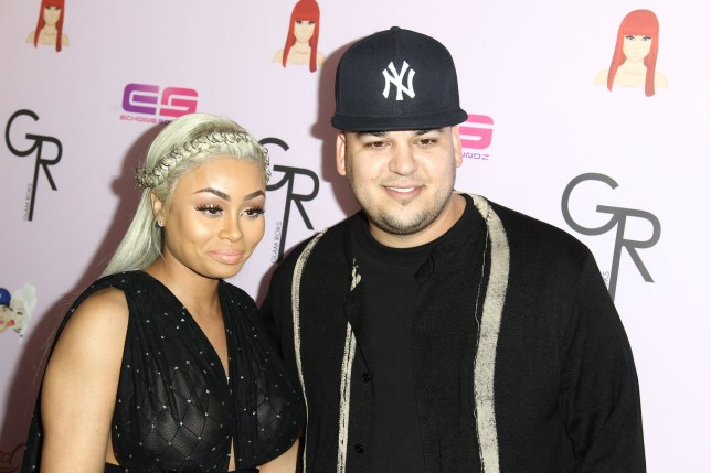 "HOLLYWOOD, CA - MAY 10: Model Blac Chyna and Rob Kardashian attends Birthday Celebration And Unveiling Of Her ""Chymoji"" Emoji Collection at Hard Rock Cafe, Hollywood, CA on May 10, 2016 in Hollywood, California. (Photo by Leon Bennett/FilmMagic)"