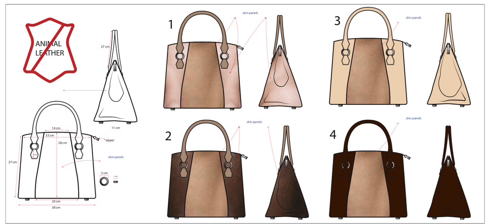 Mock up designs of Joan's ideal skin bag
