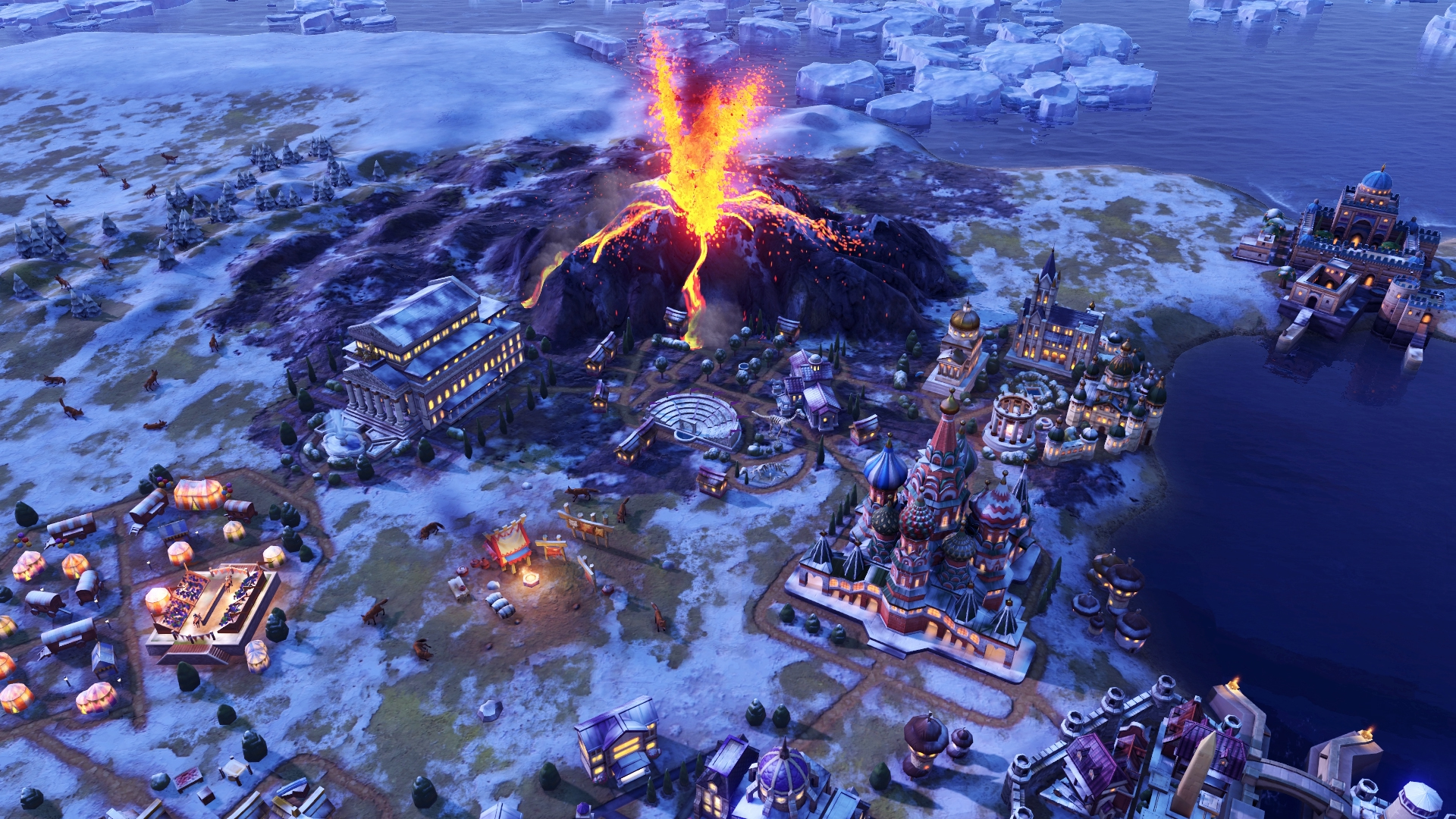 Civilization VI: Gathering Storm PC gameplay with a volcano eruption