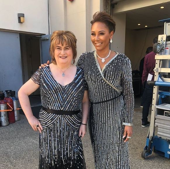 Susan Boyle and Mel B 'twin' backstage at America's Got Talent: The Champions finale