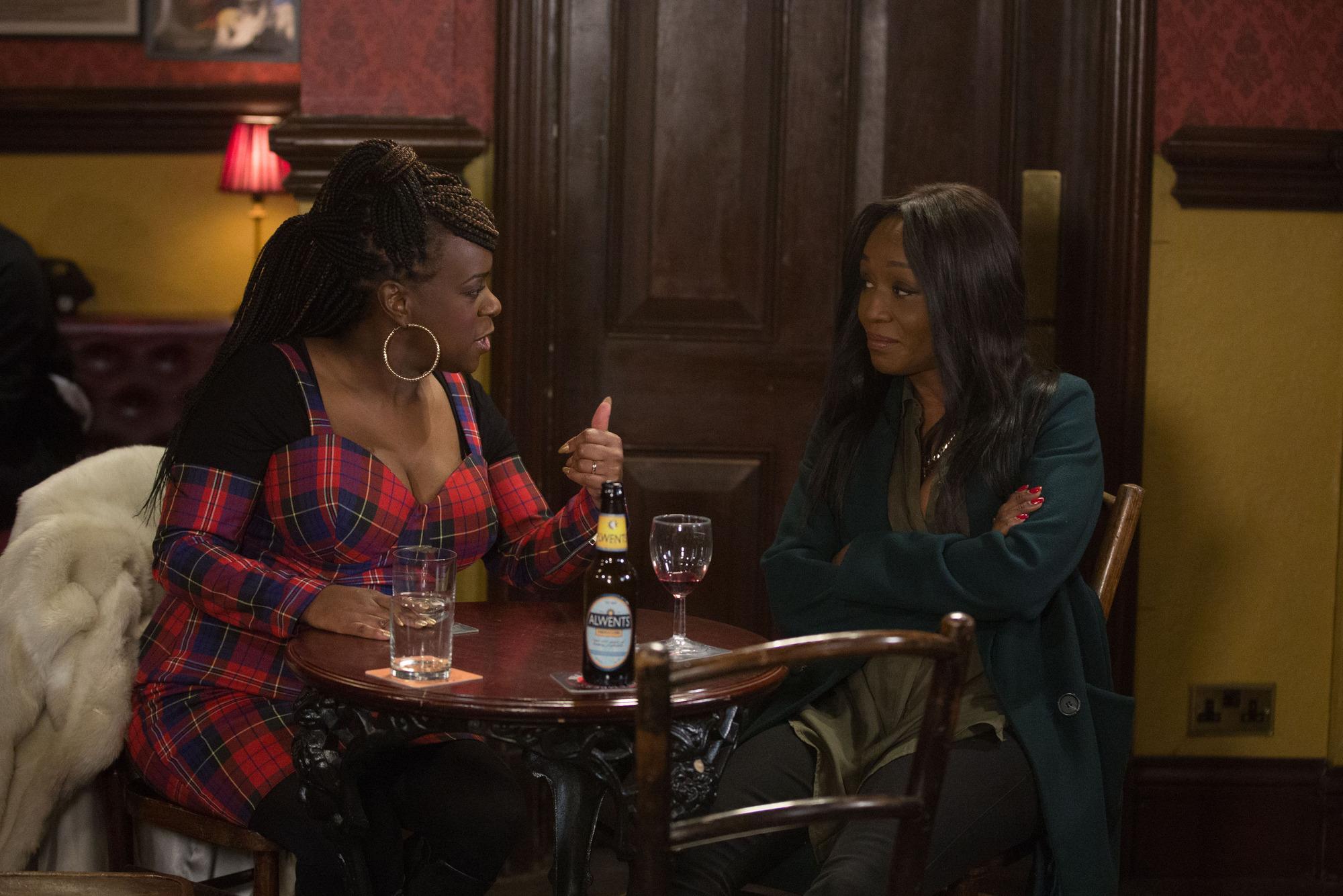 Kim cheers up Denise in EastEnders